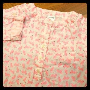 Pink fox baby girl cotton tunic + pants